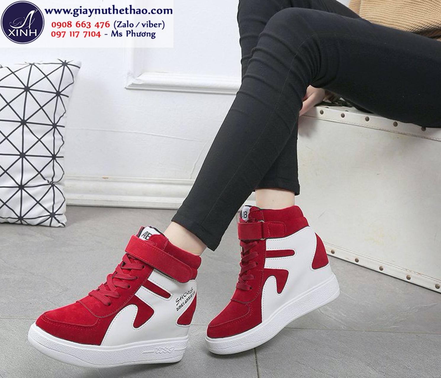 Giày thể thao nữ cổ cao độn đế năng động màu đỏ GTT2402