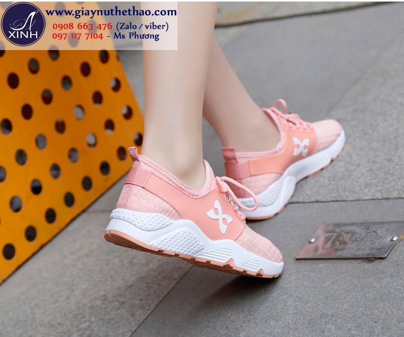 Giày thể thao nữ cột dây  màu hồng xinh xắn GTT5303