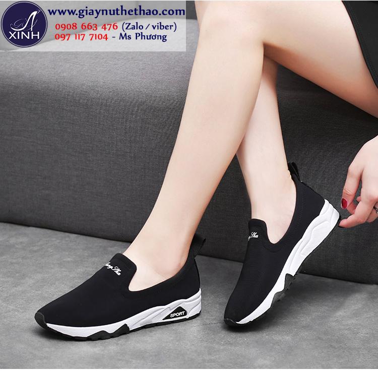 Giày slip on thể thao màu đen hiện đại GTT5802