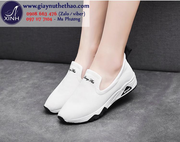 Giày slip on thể thao màu trắng xinh xắn GTT5801