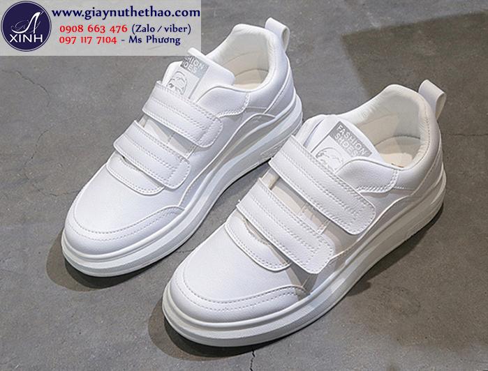 Giày thể thao nữ quai dán màu trắng xinh xắn GTT6401