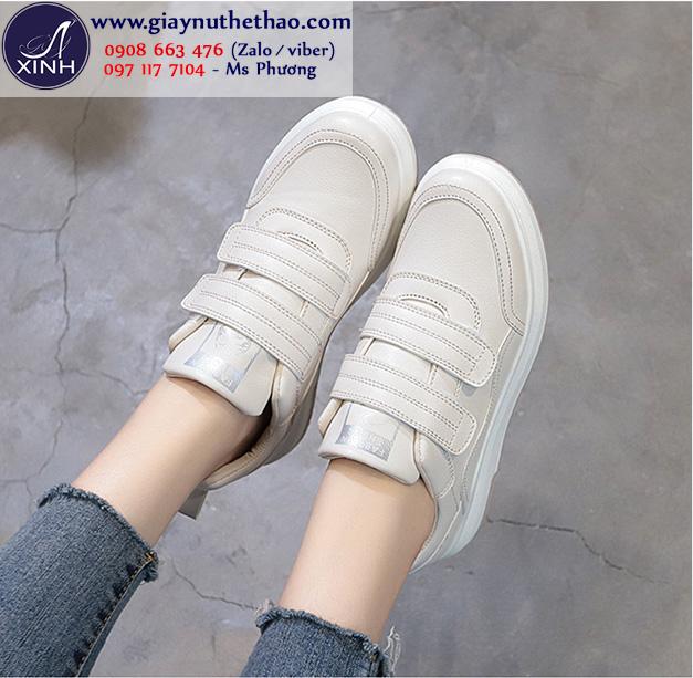 Giày thể thao nữ quai dán màu xám xinh xắn GTT6403