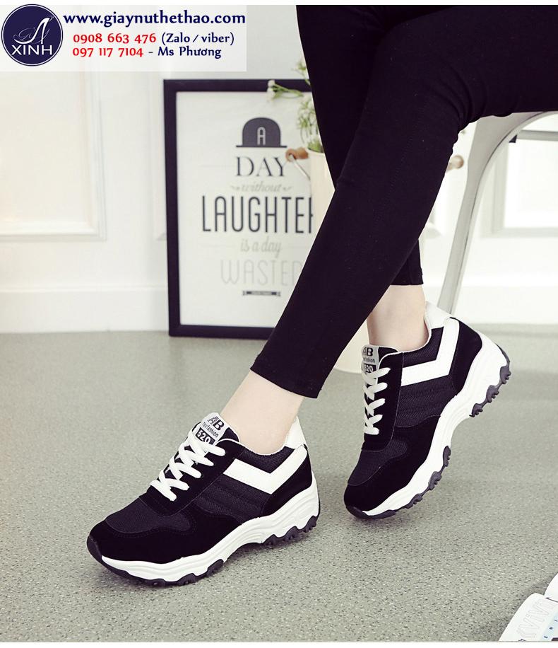 Giày thể thao nữ cột dây năng động màu đen GTT6501