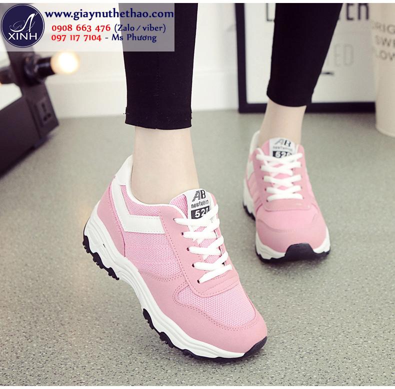 Giày thể thao nữ cột dây màu hồng xinh xắn GTT6502